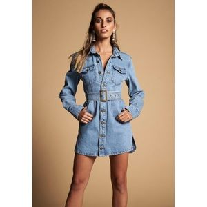 Lioness All That She Wants Denim Dress Size XS